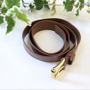 Michael Kors Faux Leather Belt Brown Gold Buckle S